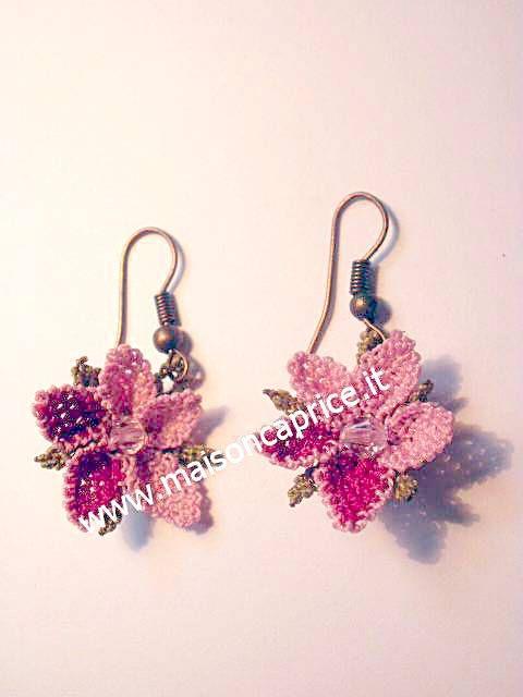 ultima moda: orecchini in seta a forma di fiore fatti a mano ad ago, silk earrings