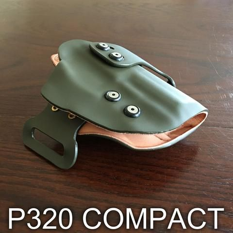 This is my favorite holster for my Sig P320 Compact. This holster has a leather lined interior which protects my FDE slide from getting scratched and worn. It keep my P320 looking like new! It's also hides my P320 very well under my t-shirt.