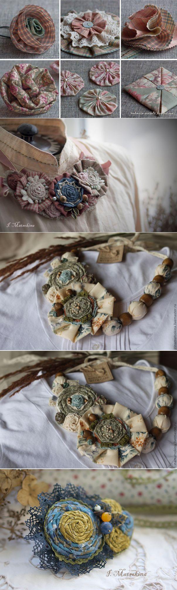 Цветы Shabby Chic в украшениях + видео МК по созданию шебби- цветочков для…
