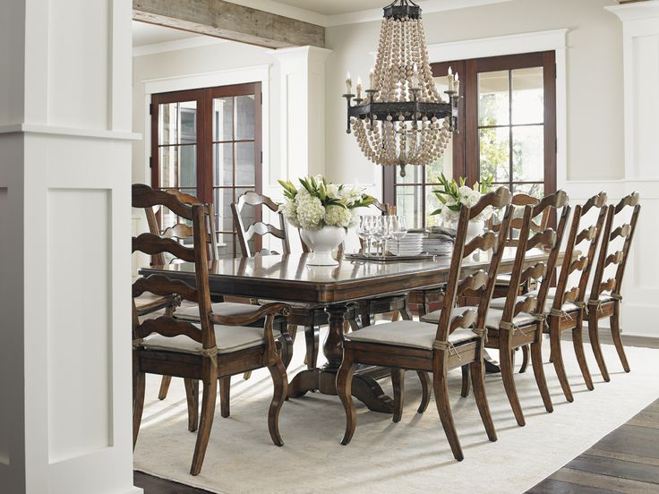 Coventry Hills Cedar Falls Rectangular Trestle Dining Room Set In Medium Brown Table Sets Bedroom Furniture Curio Cabinets And Solid Wood