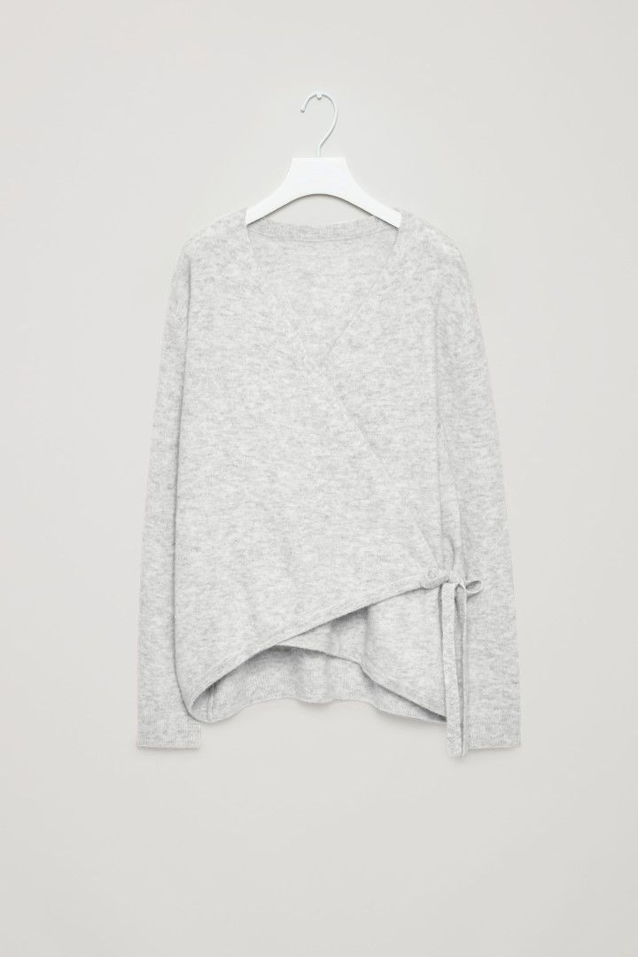 COS image 2 of Wrap-over cardigan in Light Grey