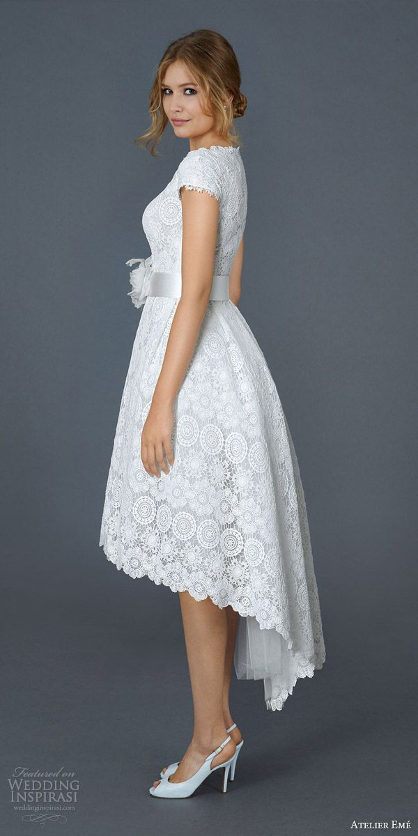 atelier eme 2016 patty short ball gown macame lace cap sleeves cute wedding dress side view mullet skirt