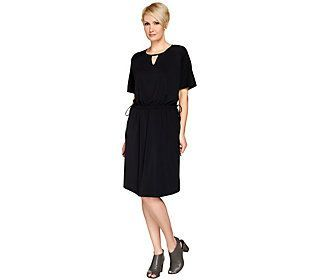 H by Halston Jet Set Jersey Knit Dress w/ Drawstrings