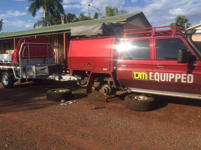 Gee some sales reps do it tuff don't they!! V8 Cruiser to drive around in with all the latest #TJMEquipped gear and he was complaining about a flat tyre he got at the motel out west of Cairns. Poor Warwick!!