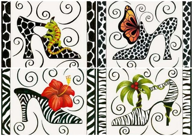 Fantasy Shoes: Free Printable Toppers or Labels in Animal Prints.