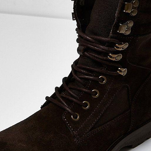 Dark brown suede combat boots - boots - shoes / boots - men