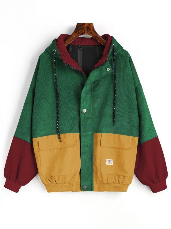 Hooded Color Block Corduroy Jacket 9