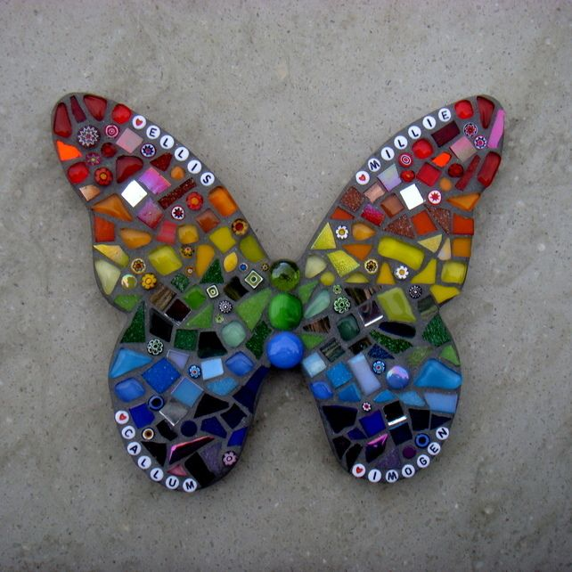 Rainbow Mosaic Butterfly Garden Ornament