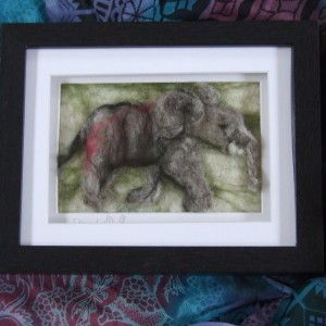 needle felted baby elephant, Emma Allott.