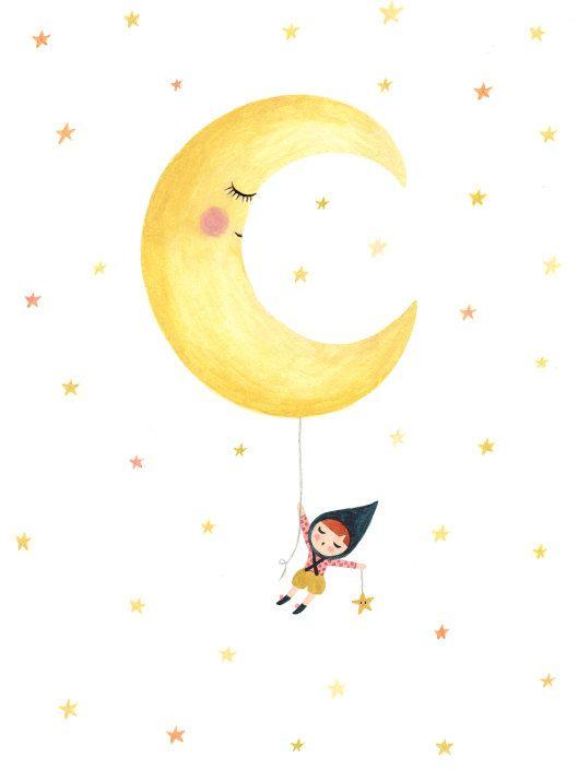 Illustration-Aquarelle-tirage d'art-affiche-décoration chambre d'enfants-décroches-moi la lune-étoiles-Ninon-rêve-nuit-jaune de la boutique christellelardenois sur Etsy