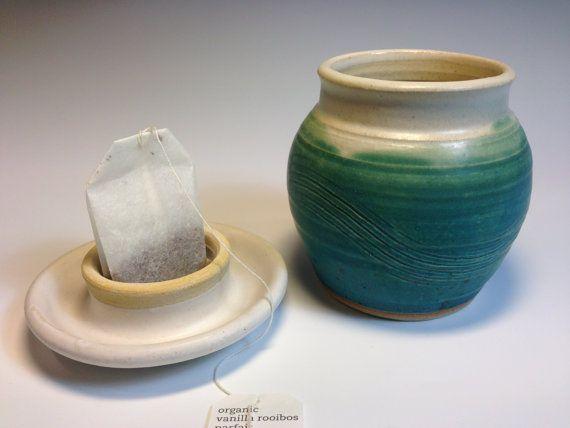 Ceramic Teal Tea Mug with Lid, Stoneware, Handleless, Sand Dollar Design