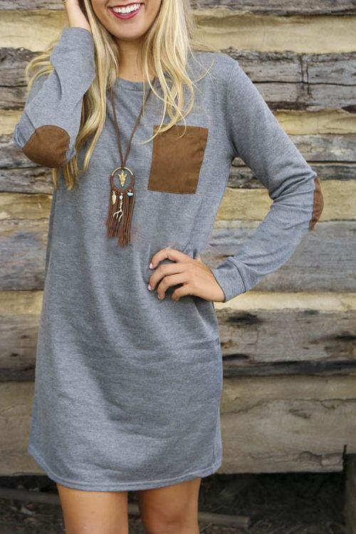 Gray Straight Round Neck Long Sleeve Dress