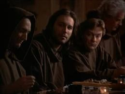 """Chris takes a vacation to a monastery.  He describes to Brother Timothy (played by Stephen Root) his unorthodox religious style, from """"Revelations"""" S4, E12."""