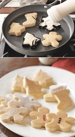 Christmas Pancakes!!! Just use metal cookie, cute fun breakfast for little ones!!