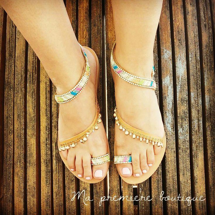 Afroditi  Handmade greek leather sandal Feet jewelry   Αφροδίτη Δερμάτινο χειροποιητο σανδαλι Ελληνικής κατασκευής. Ενα κόσμημα στα πόδια σας   #santorini #leathersandal #musthave #stone #luxurious #sparkles#sandals #greece #crystals #fashionista #Ελλάδα #summer #sea #sun #vacation #bohostyle #bohochic #jewerlydesign #jewerly #feet #woman #wedding
