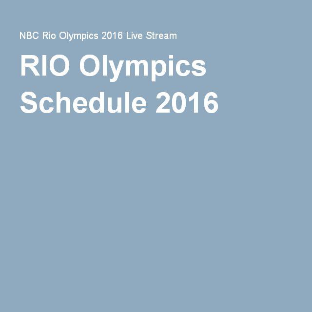 RIO Olympics Schedule 2016
