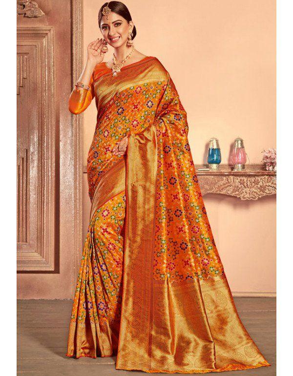 ecc5d632ae Golden Yellow Heavy Patola Silk Saree in 2019 | Bridal (Wedding ...