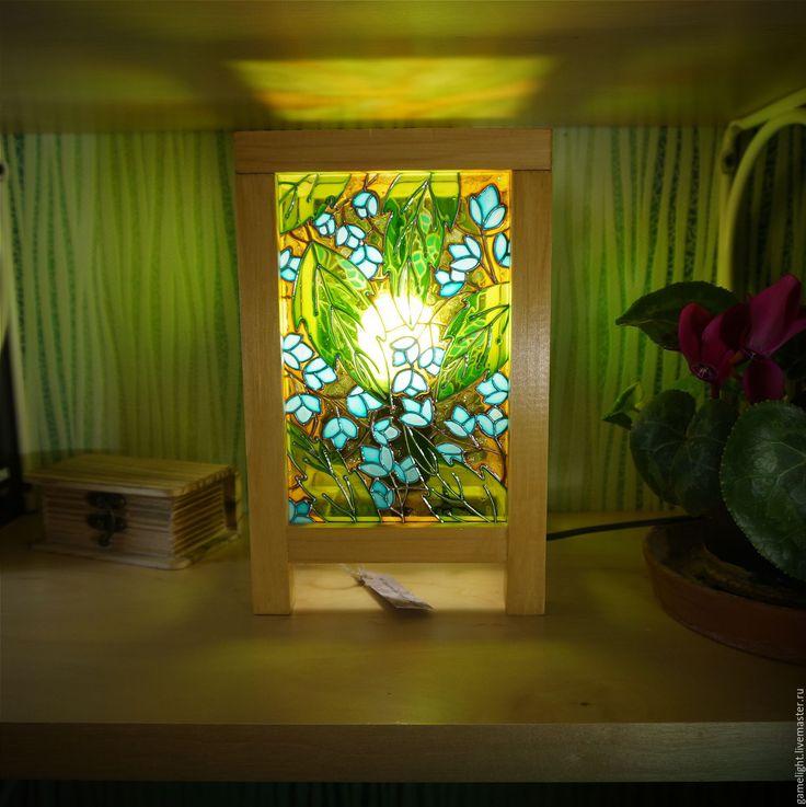 """Купить Ночник """"Мисс Джессика Дэй"""" - ночник, светильник, лампа ручной работы, Витражная роспись"""