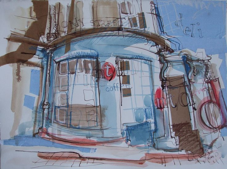 New Town Deli, Broughton Street, Edinburgh. Ink and Collage 2015. Lucy Jones, Edinburgh Artist - facebook.com/lucyjonesedinburghartist
