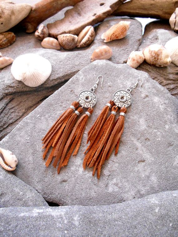 """Earrings """"NATIVE AMERICAN Inspired"""" Silvered apprets, Silvered Beads, Leather"""