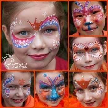 Schmink glitters en schminkvoorbeelden voor Koninginnedag