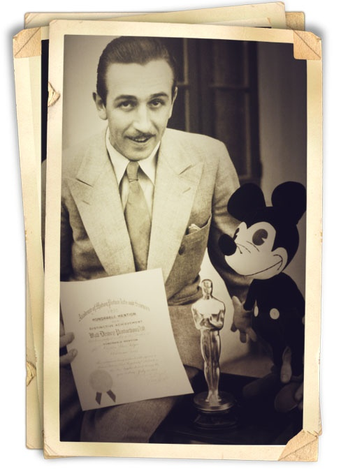 """Mr. Disney, With Mickey Mouse. Mickey Mouse was originally named """"Mortimer Mouse""""."""