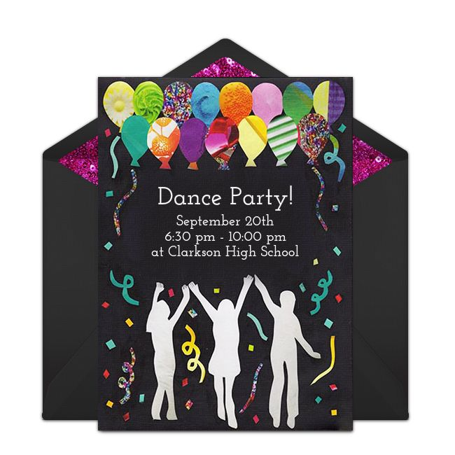 Free Dance Party Invitations | School dances, Invitations ...