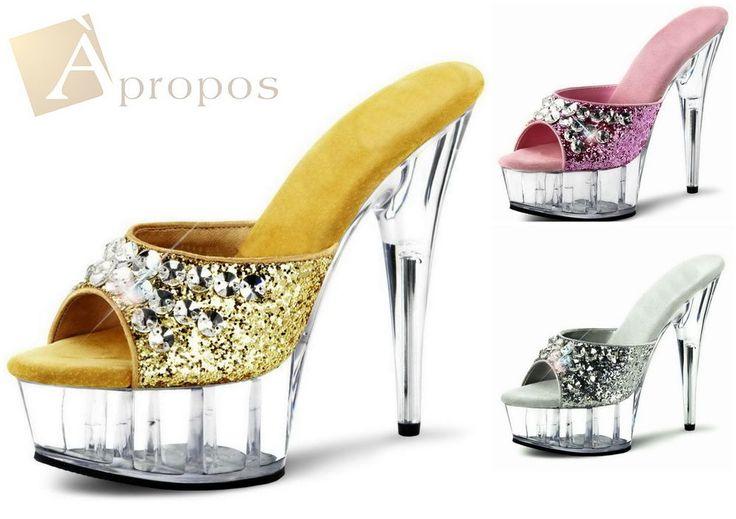 Pantolette 10cm Damen Plateau High Heel Stiletto Sandalette Gold Silber Strass