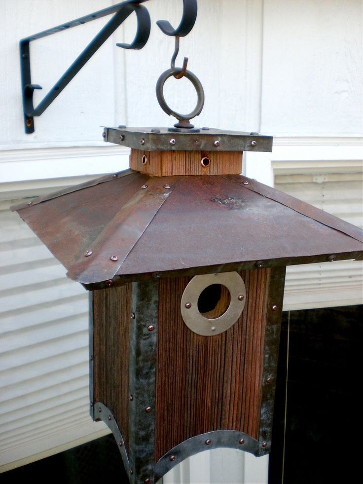 Made to Order: Arts and Crafts/Craftsman Style Birdhouse From Reclaimed Barnwood and Metal Roofing. $175.00, via Etsy.