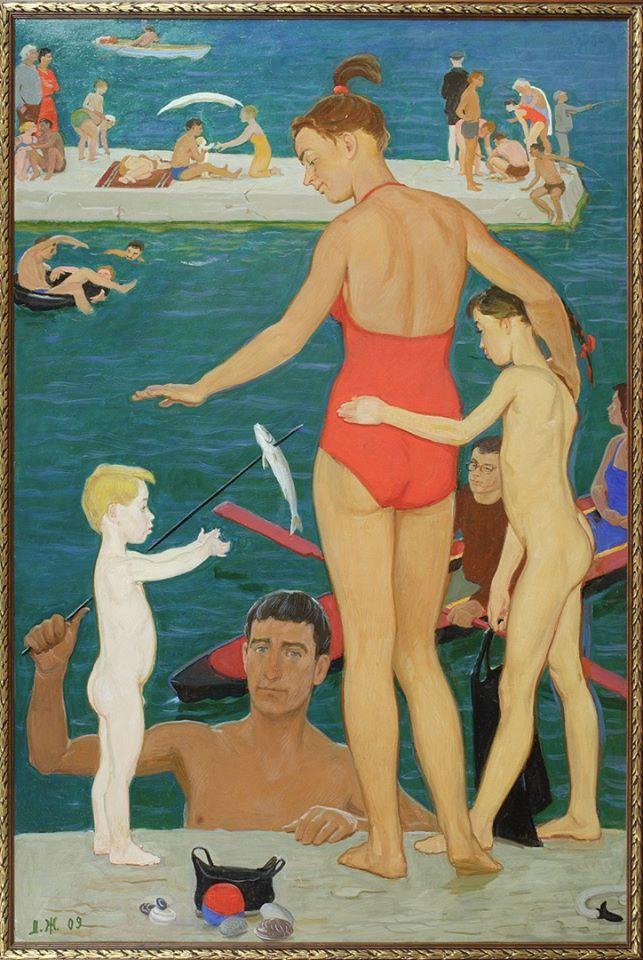 Дмитрий  Жилинский,  Семья  у  моря.    Три мастера в галерее РОСИЗО Дмитрий Дмитриевич Жилинский (1927 — 2015)