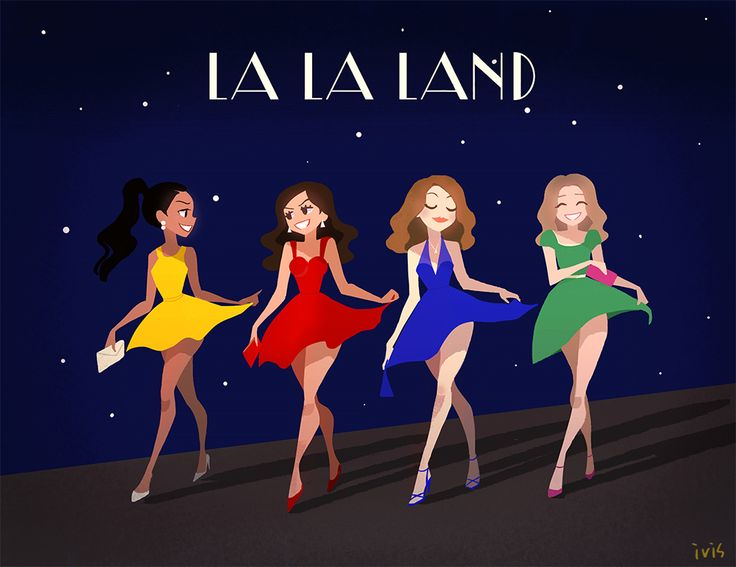 La La Land by ivisdraka<<<did anyone else notice that these 4 girls are wearing the colors of the 4 hogwarts houses?
