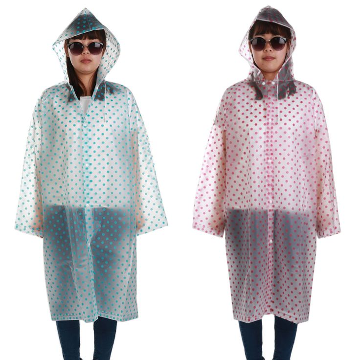 Hot Selling Unisex Stylish Polka Dots Outdoor Travel Waterproof Riding Clothes Raincoat Poncho Hooded Knee Length Rainwear