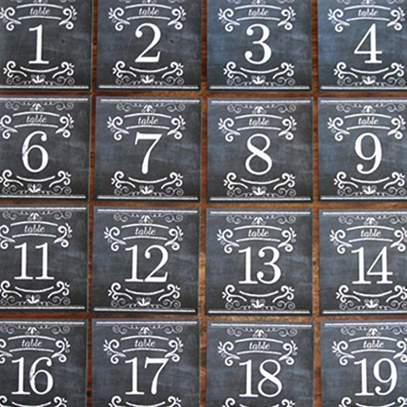 Printable Chalkboard Table Numbers PDF $29   ♥  Repinned by Annie @ www.perfectpostage.com