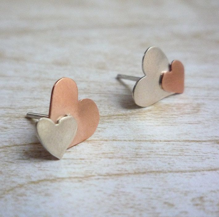 Silver & Copper hearts stud earrings - asymmetrical earrings - small heart earrings - valentines  jewelry gift - simple and minimal jewelry by carlaamaro on Etsy
