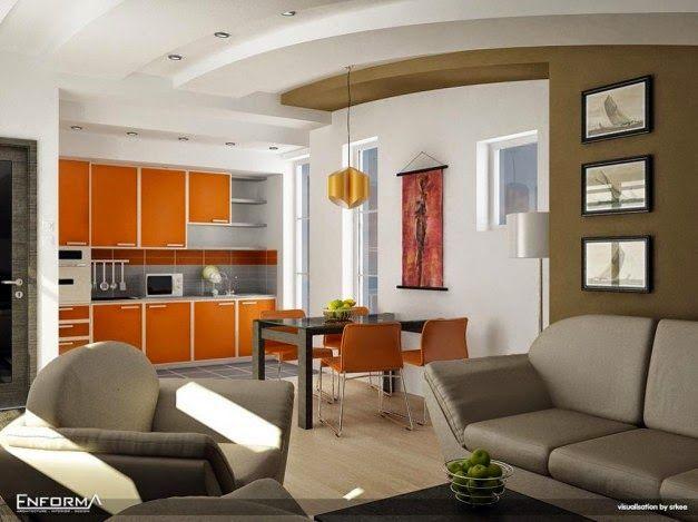 Desain Interior Dapur Dengan Furnitur Sederhana Orange