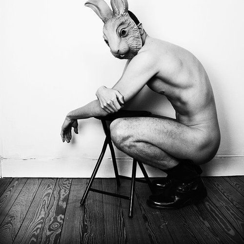 bunny man   #black and white  #nude