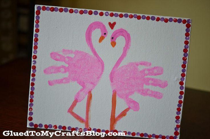 Handprint Flamingo {Kid Canvas Craft} @chantellmarie