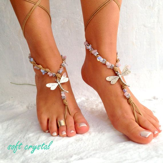 Barefoot sandals. beach sandal, beaded sandals, , sea star boho barefoot sandles, crochet …
