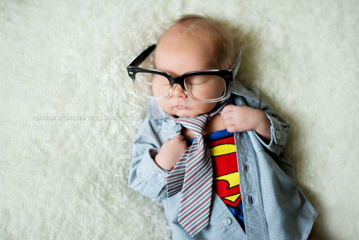 Superman newborn, clark kent, newborn photography, super hero newborn.