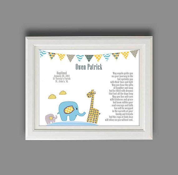 Baby Boy Baptism Gift - Christening Gifts for Boys - Personalized Baptism Gift - Religious Art Print - Gift from Godparents