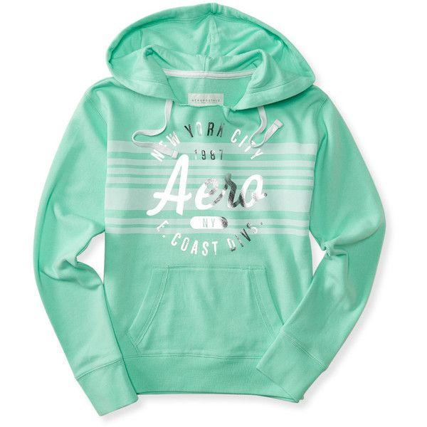 Aeropostale East Coast Stripe Popover Hoodie ($18) ❤ liked on Polyvore featuring tops, hoodies, balsam green, striped top, striped hoodies, drawstring hoodie, stripe top and stripe hoodie