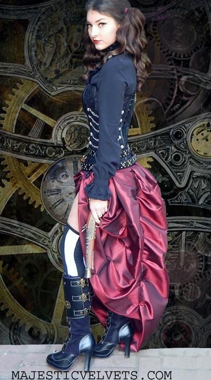 Brown Or Black Steampunk Dress With Corset Clasps Buckles Chains And Taffeta Bustle Skirt Find This Pin More