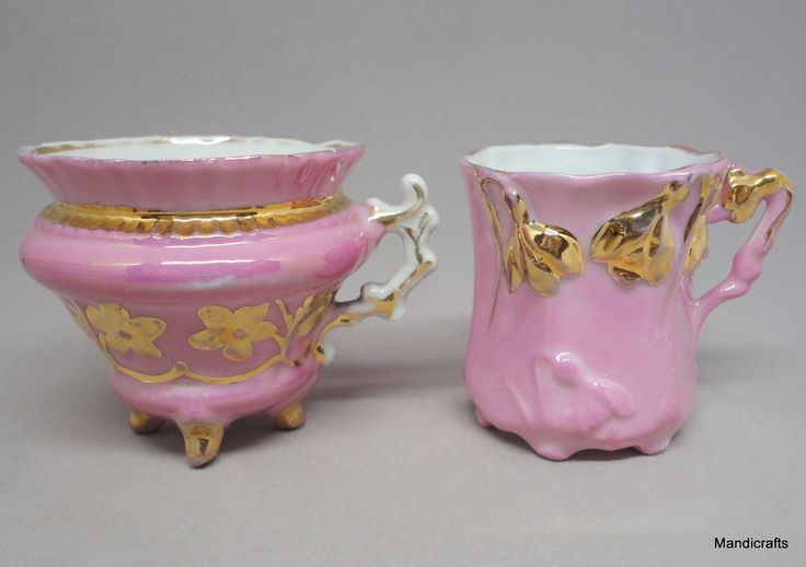 #GermanPorcelain Victorian #Lusterware Cup x 2 Pink Footed 2in Raised Florals Vtg #Victorian Unknown