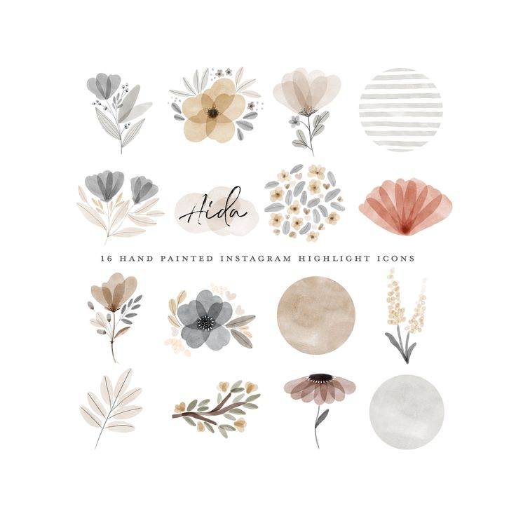 Boho Instagram Geschichte Highlight Icons Instagram Highlight Beige gebrannte Orange Pflanzen Neutrale Blumen Floral Clipart Blog Branding Kit   – Logos and Branding