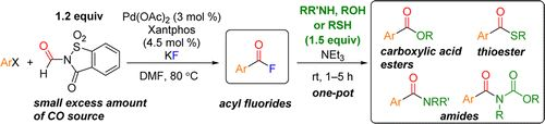 Palladium-Catalyzed Fluorocarbonylation Using N-Formylsaccharin as CO Source: General Access to Carboxylic Acid Derivatives