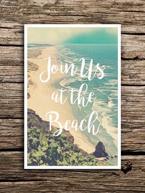Join Us At the Beach Wedding Save the Date Postcard // by factorymade