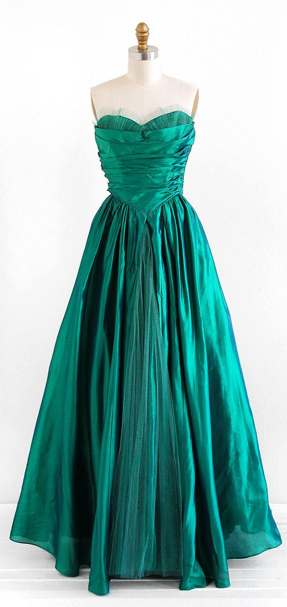 vintage 1950s gown / 50s dress / Emerald Green Taffeta