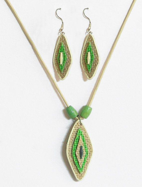 Jute Leaf Pendant and Earrings (Jute))