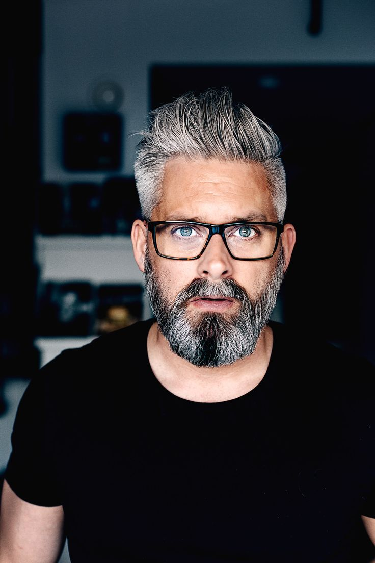 Model Swedish Grey Hair Silverfox Mens Style Beard