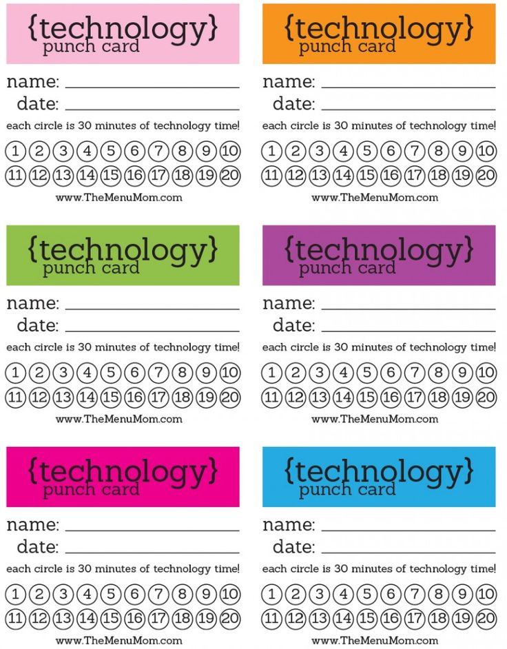 I so need to do this in the Blank household. My kids wouldn't know what hit them! It could be used to help them make better choices, rewarding them for good choices and punishing them for bad choices, but encouraging them to use their minds other then turning to the TV or IPad! Technology Punch Cards Printable - www.authenticmoms.com